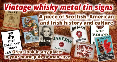 Vintage whisky metal tin signs